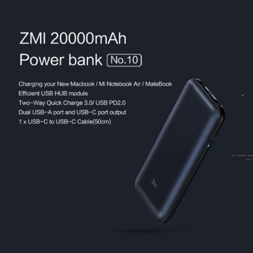 Original Xiaomi Zmi 20000mah Power Bank Usb Pd 20 Quick Charge 30 Mi Powerbank Dual Ports For Macbook
