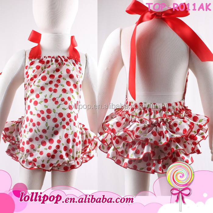 New design satin baby bubble romper cherry pattern ruffle smocked romper