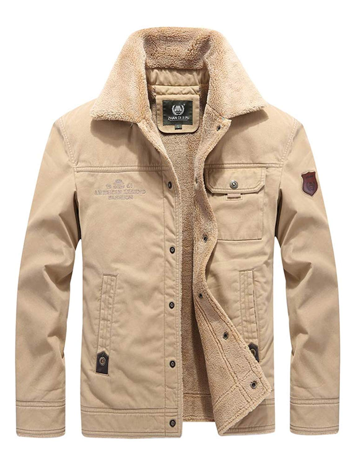 cfca0ef429 Get Quotations · IDEALSANXUN Men s Thick Lined Cotton Padded Jacket  Military Cargo Outdoor Jacket