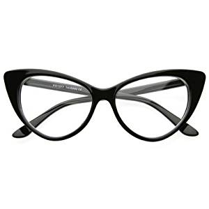 0a5706fe81 Get Quotations · Super Cat Eye Glasses Vintage Inspired Mod Fashion Clear  Lens Eyewear (Black)