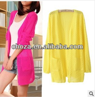 C60591A 2013 SUMMER NEWEST STYLE WOMEN'S BRIGHT COLOR KNITTED CARDIGAN SWEATER