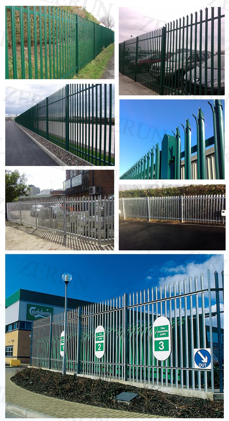 W Profile Single Spike Wrought Iron Iron Palisade Fence