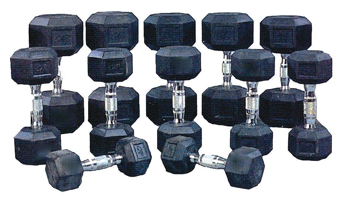 ProMaxima - HEXR7 - Dumbbell Set, Black; Weight: (2) 5 lb., (2) 10 lb., (2) 15 lb., (2) 20 lb., (2) 25 lb., (2) 30 lb.