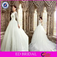 2015 Magnificent Long Sleeve Lace Muslim Wedding Dress With Royal Train