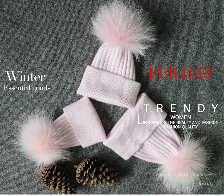 Janefur Wholesale Price Custom Winter Angora Knitted Beanie Hat Parent-child Fur Ball Hat