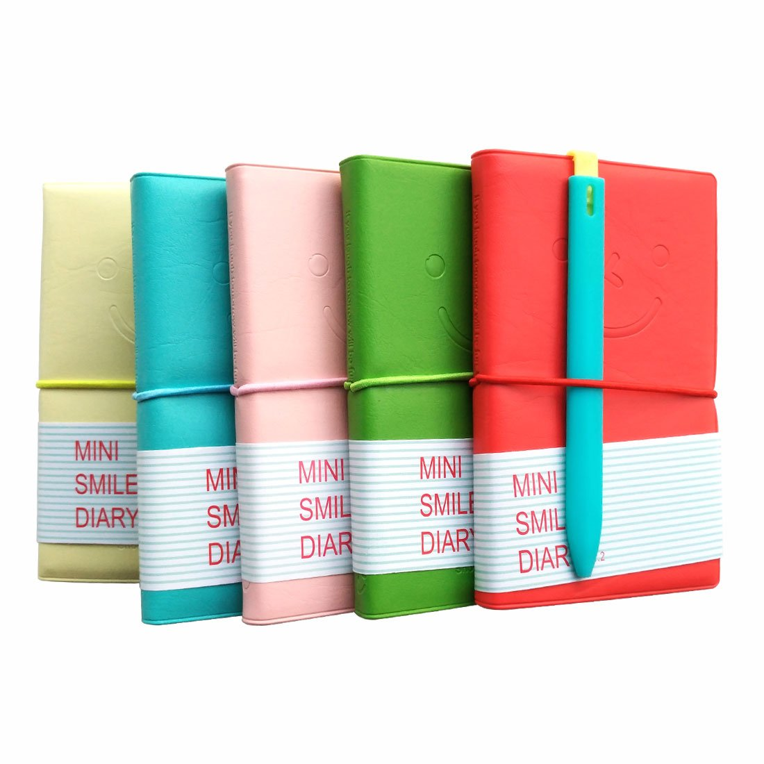 Memo Charming Portable Mini Smiley Diary Paper Notebook, Leather Shell, 100 Sheets, Color (Green, Red, Lemon, Mint, Pink) Set of 5+Bookmark ballpoint gift