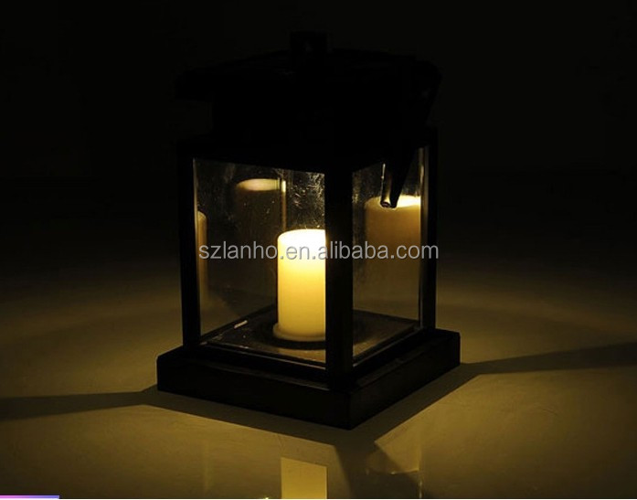 Outdoor Hanging Candle Light Solar Powered Led Garden Wall Carriage Lantern Lamp