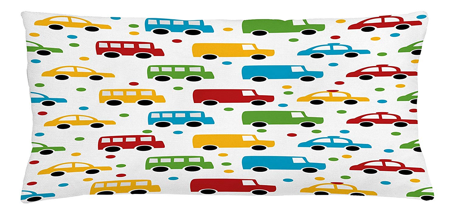 Ambesonne Cars Throw Pillow Cushion Cover, Vivid Colored Silhouettes of Transportation Vehicles Bus Taxi Automobile Kids Pattern, Decorative Square Accent Pillow Case, 36 X 16 Inches, Multicolor