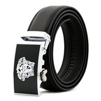 OEM Manufacturer Produce Black & Gunmetal Automatic Buckle Genuine Leather Brand Belts