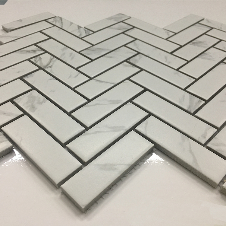 hot sale cheap decorative pattern ceramic mosaic herringbone shape mosaic tile for bathroom wall
