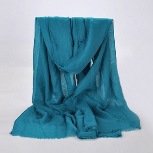 Arab Stylish Cotton Hijab Viscose Scarf Women Plain Tassel Hijabs Muslim Stoles Pashmina