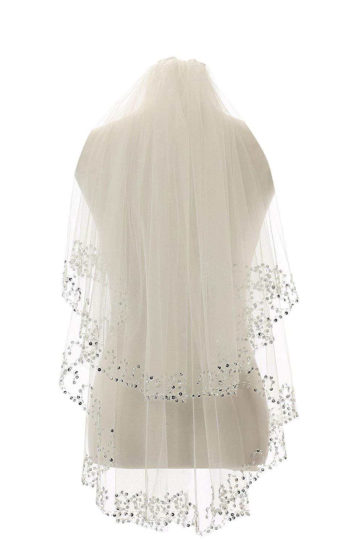 Cibelle Womens Short Wedding Veil Sequin Pearl Edge Luxury Crystals Beaded Bling Bridal Veil