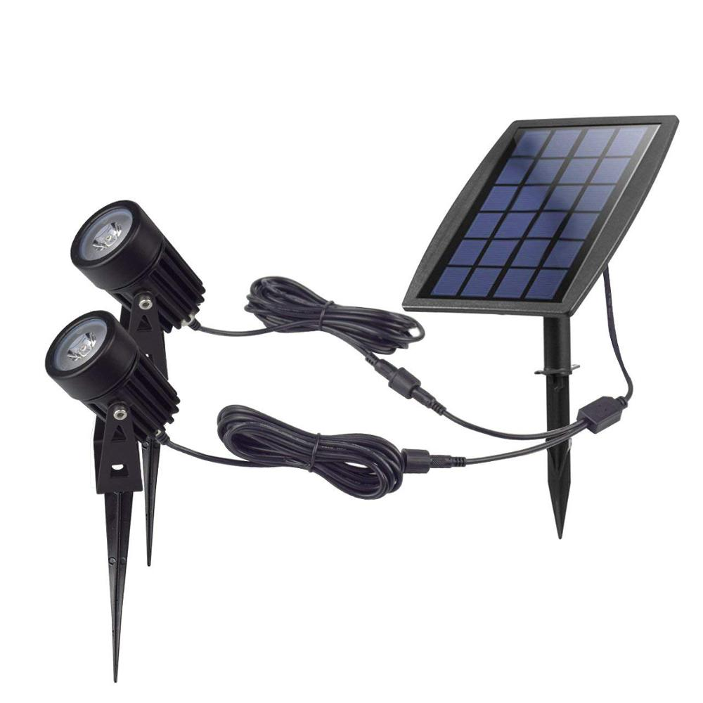 High quality IP65 solar led spotlight outdoor use with 2 lights