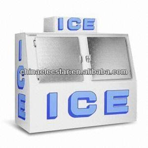Merchandiser/commercial refrigerated bagged ice bin/Ice cube storage bin with two doors, CE Certified