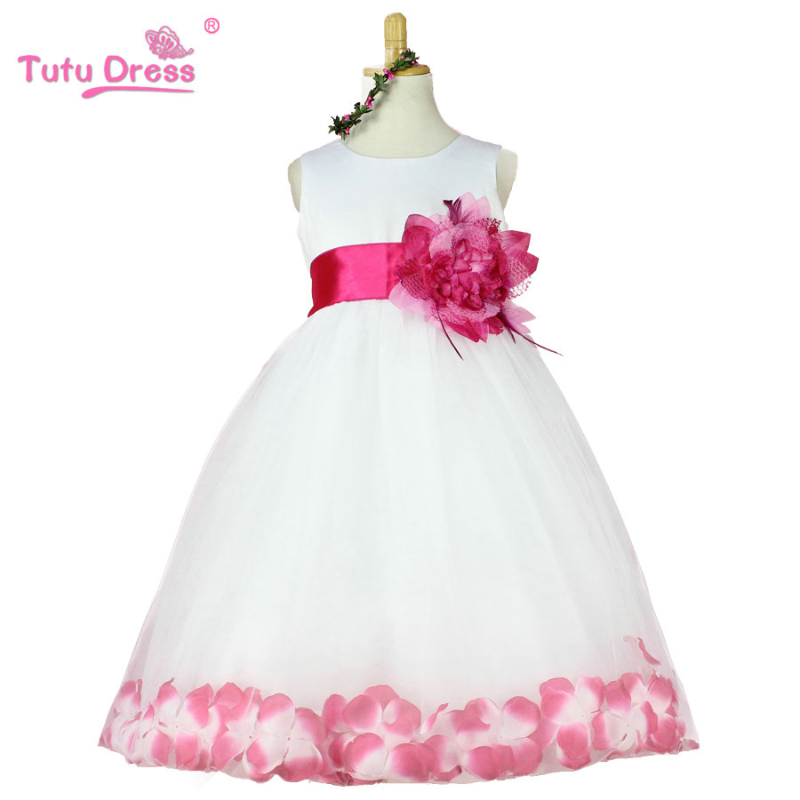 2016 new spring girls dress girls rose petal hem tutu dress color cute princess dress girls