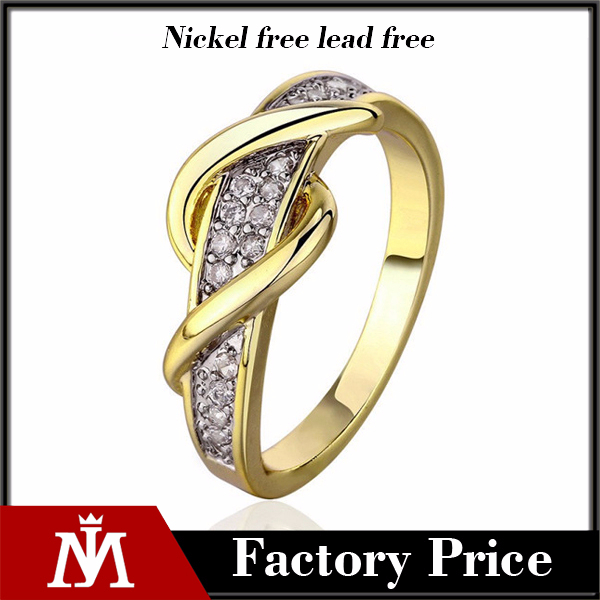 High Polishing Gold Stainless Steel Diamond Luxury Jewelry Ring Zircon for Women