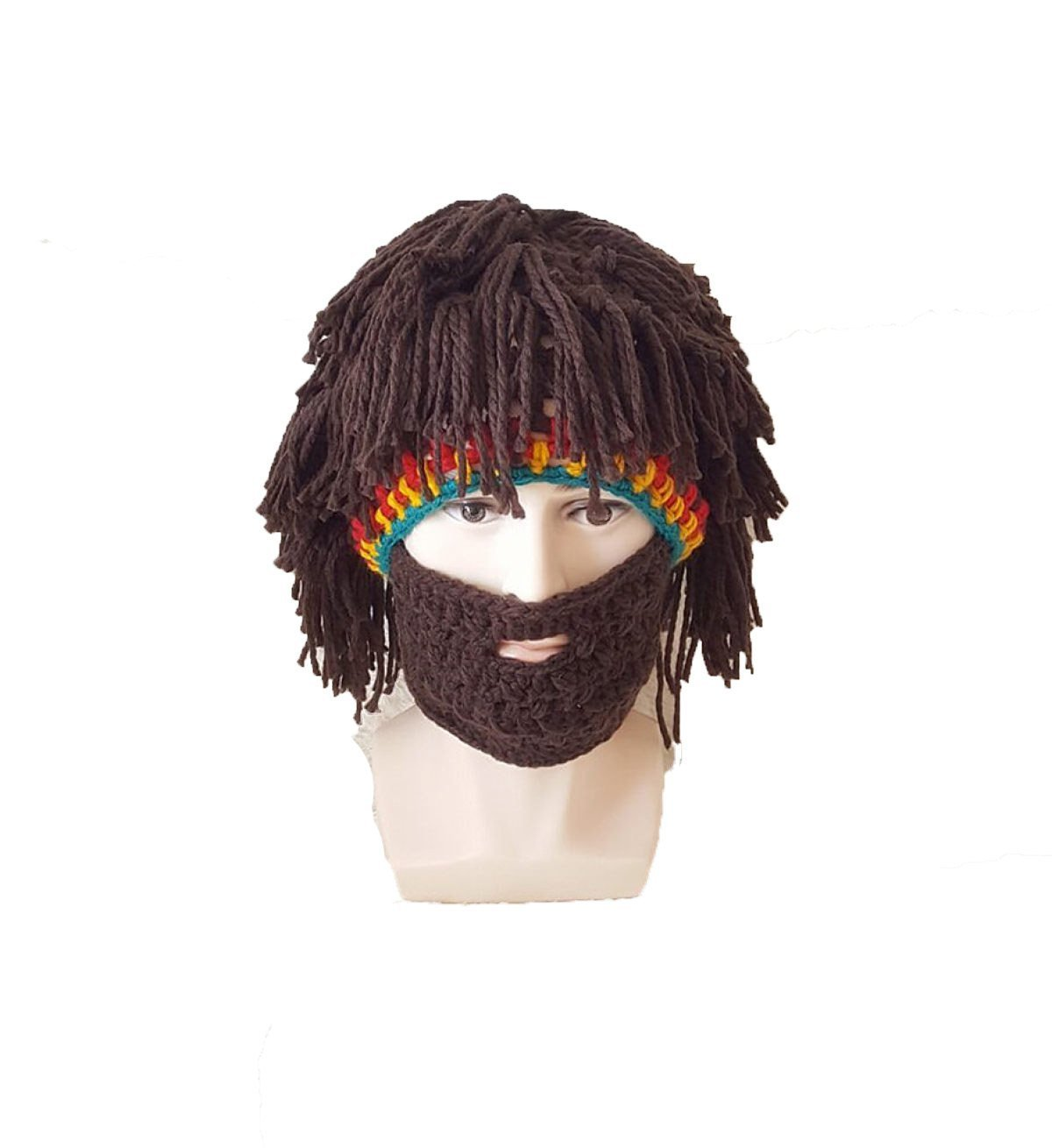 Get Quotations · Beard Hat Winter Europe Warm Funny Hat Creative Fake Hair  Hat Knitted Bearded 94e8842400a9