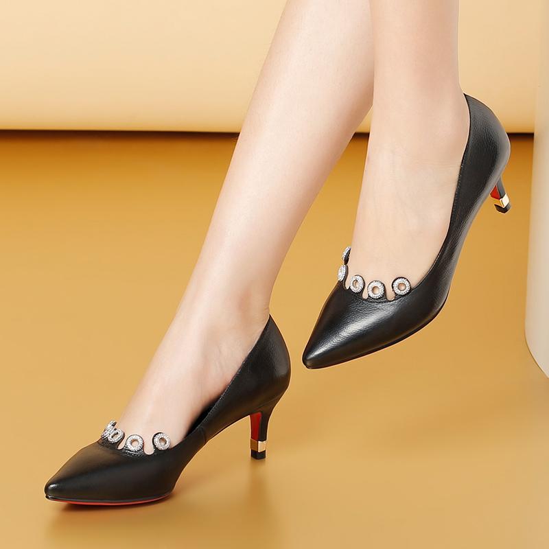 autumn pumps pointed fashion toe G024 crystal heel high ladies shoes new aEFq4wB
