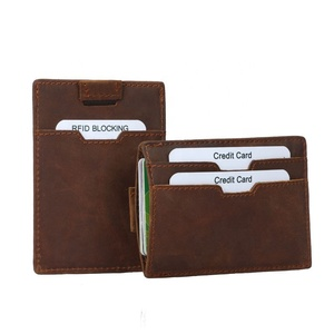 Pull Out Top Grain Cow Leather Business Card Holder Leather Card Holder