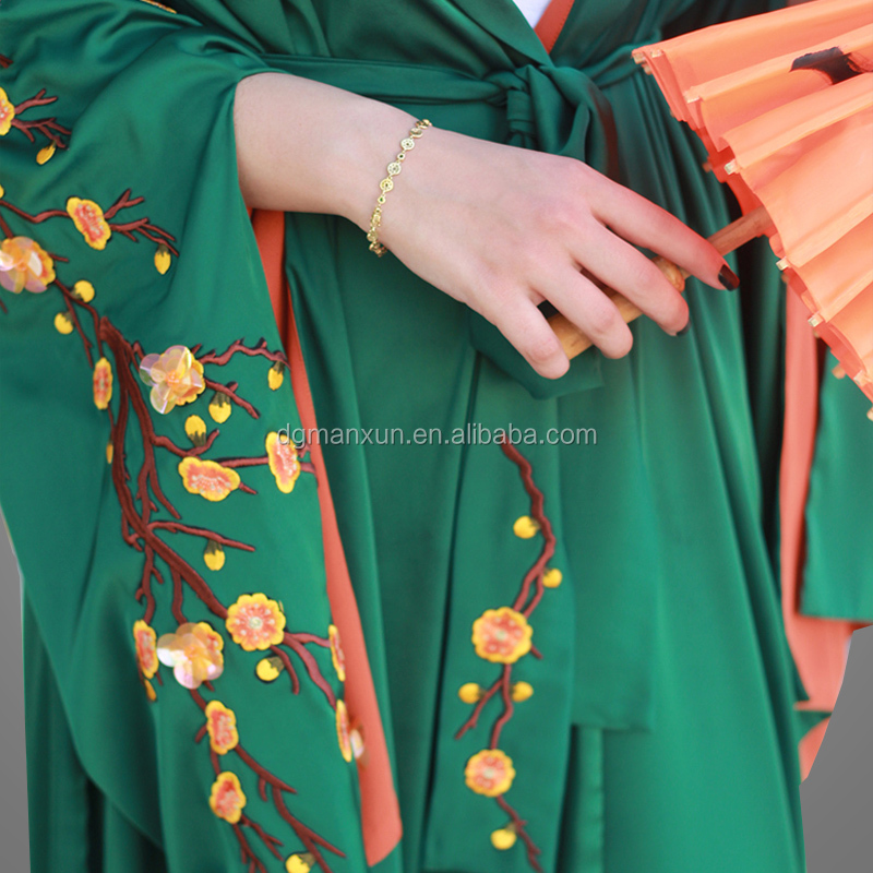 beautiful green kimono abaya hand embroidery abaya with fashion sleeves