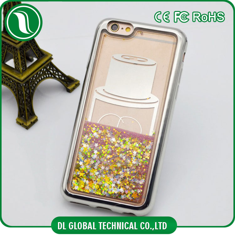 Liquid moving stars luxury plating bumper tpu pc 2 in 1 glitter bottle case for iphone 6 plus