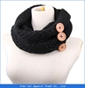 Fashion winter warm Knit infinity women scarf with button