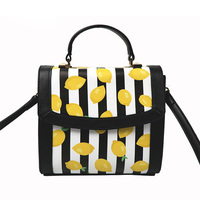 Customized oem factory direct designer China trend brand 2019 fashion handbag with lemon pattern