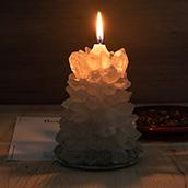 Yiwu suporte de vela de vidro pedra natural druzy fatias decoração de casamento vela jar