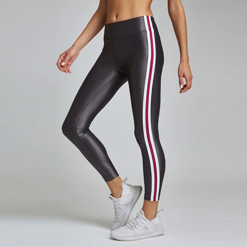 5db27e9a57 Las nuevas mujeres de cuero de imitación Entrenamiento de deportes gimnasio  fitness ropa de yoga polainas