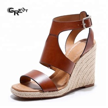 Roman Womens Hollow Out Leather Wedge Sandals Open Toe Platform High Top Women Leather Sandals