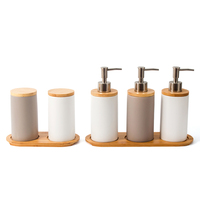China Manufacturer White and Brown Porcelain 5 Piece Ceramic Bathroom Accessory Sets with Wooden Tap