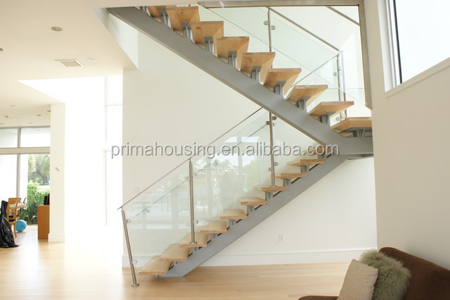 Prefabricated Tempered Glass Railing Wood Stairs
