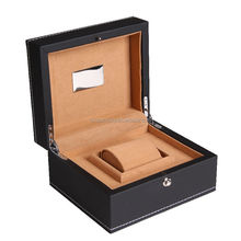 2015 high quality wholesale oem custom luxury black mens wooden watch box