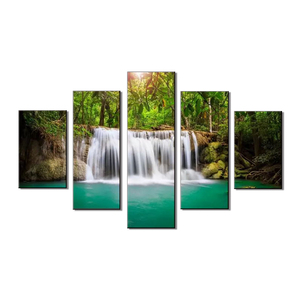 5 panel wall pictures for living room art Waterfall canvas painting modular picture posters and prints quadros cuadros paintings