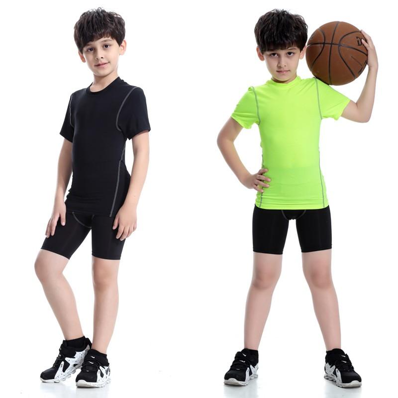 2018 Colorful Sportswear Boys' Compression Shirt Shorts Pants Sportswear Set Kids 5