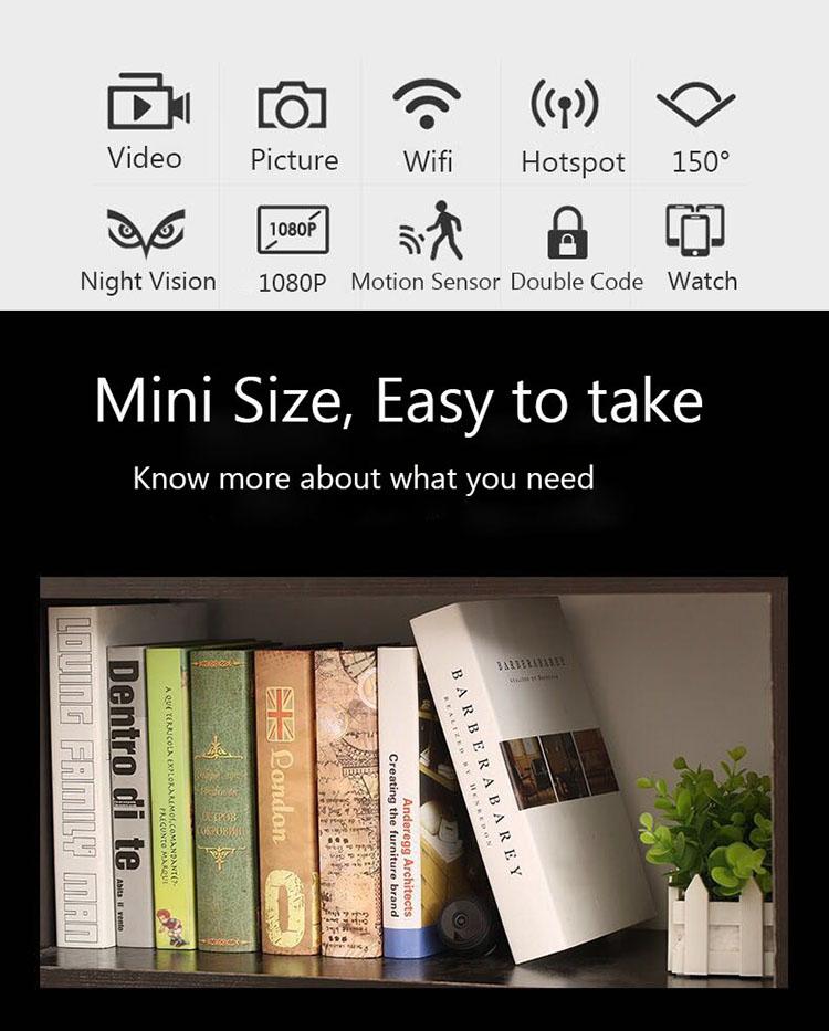 Mini Spy Camera WiFi Hidden Camera Wireless HD 1080P Indoor Home Small Spy Cam Security Cameras/Nanny Cam