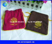 Golden Embroidered Dyeing Linen Pouch Wholesale Company Customized Packing Pouches