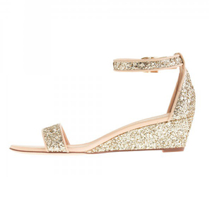 Glitter bridal heel sandals open toe ankle strap wedge sandals