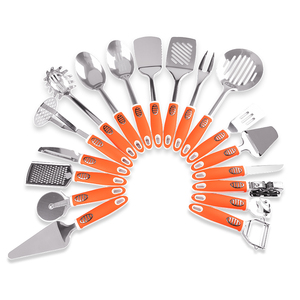FDA approval rubber kitchen utensils stainless steel cooking tool set