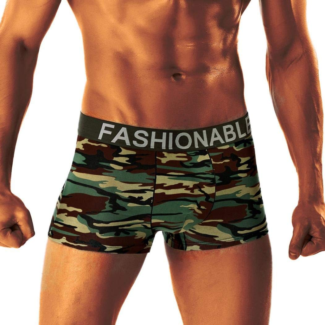 Clearance! Paymenow Men's Underwear Soft Camouflage Stretch Low-Rise Boxer Briefs Sexy Trunks Underpants