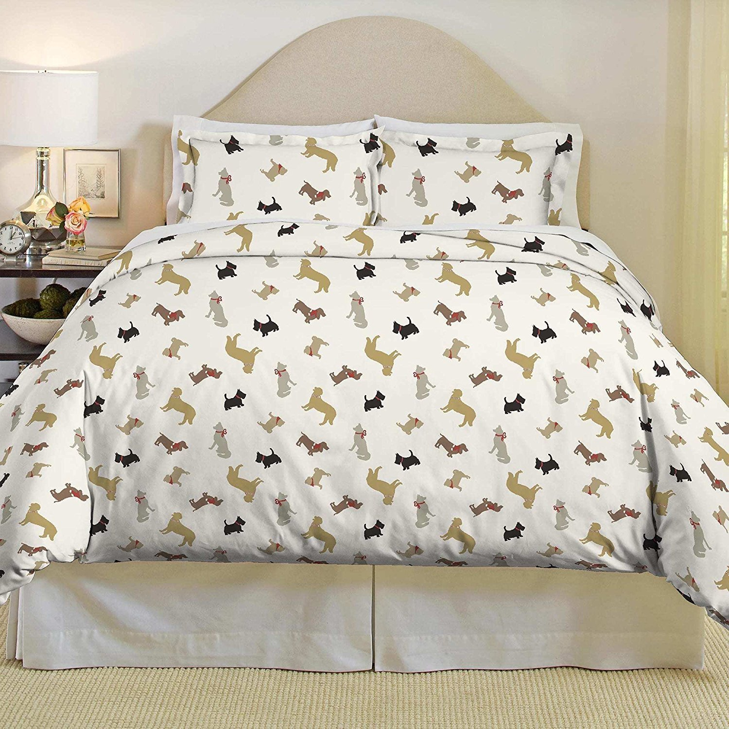 3pc Trendy Black Beige Grey Red White Full Queen Duvet Cover Set, Dog Themed Bedding Animal Modern Shabby Fun Daschund Chic Puppy Cute Adorable Casual Stylish, Cotton, Flannel
