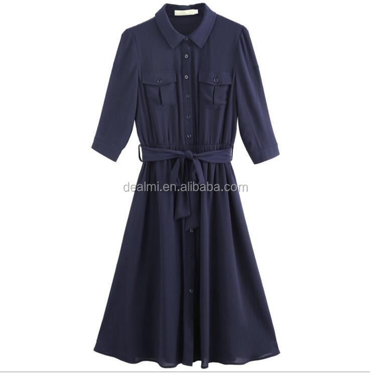 DEMIZXX411 Wholesale Women Custom Chinese Factory Ladies Elegant Navy Belt New Fashion Popular in Western China Formal Dress