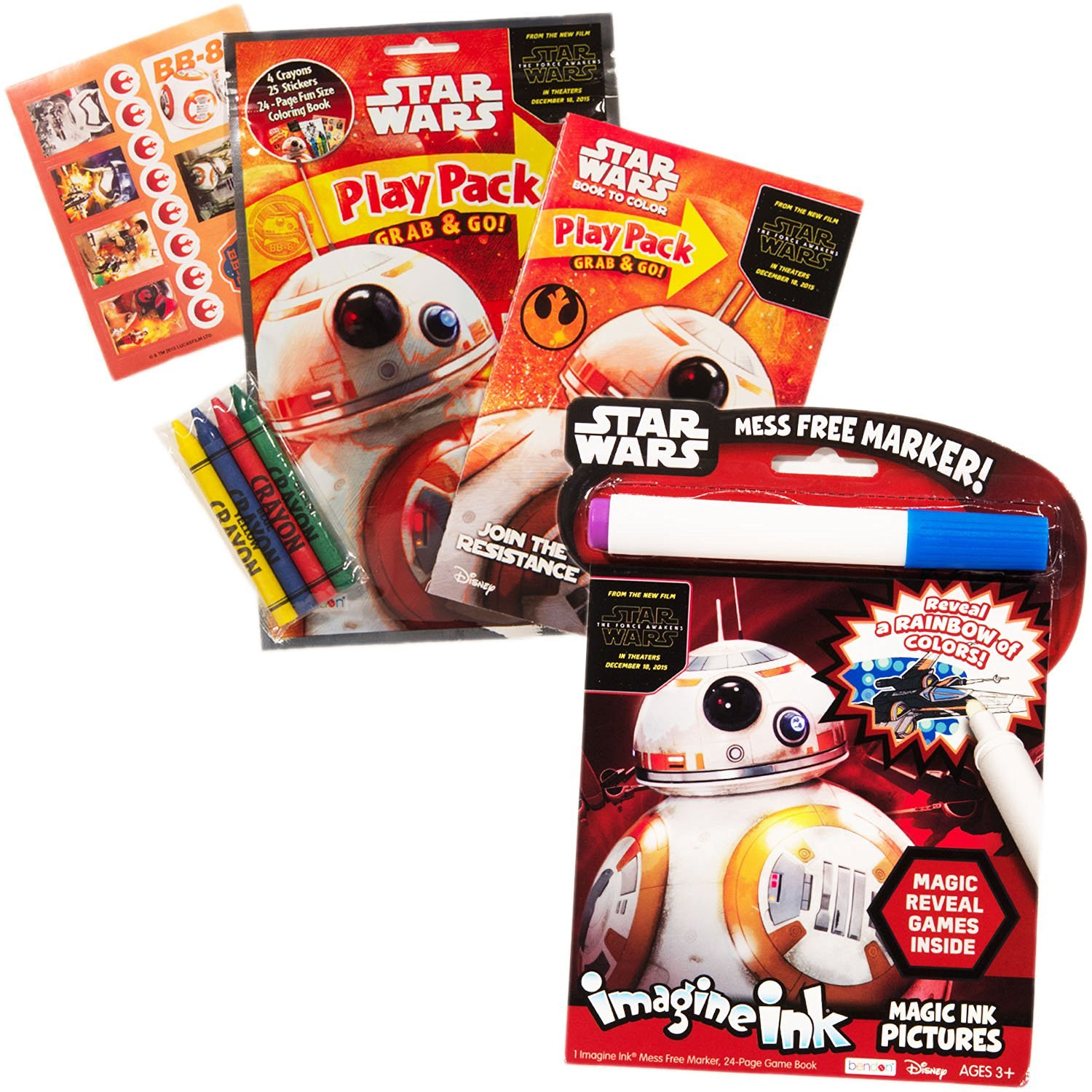 Star Wars Imagine Ink Book And Activity Pack Set With Stickers Includes Mess Free Marker