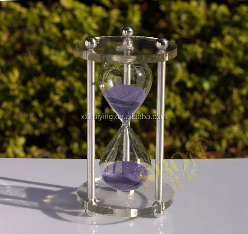 Custom Crystal large hourglass sand timer for 60 minutes Home Furnishing Ornaments Glass Crafts
