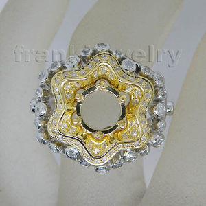 Fine Jewellery Round 8.5mm Solid 18kt Two Tone Gold Diamond Engagement Semi Mount Setting Ring SR08