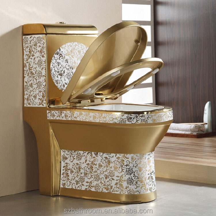 Bathroom sanitary ware one piece gold plated toilet