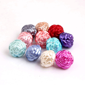 Colorful Mix Color Plastic Acrylic Rose Shaped Pearl Beads for Chunky Jewelry Wholesales 25MM