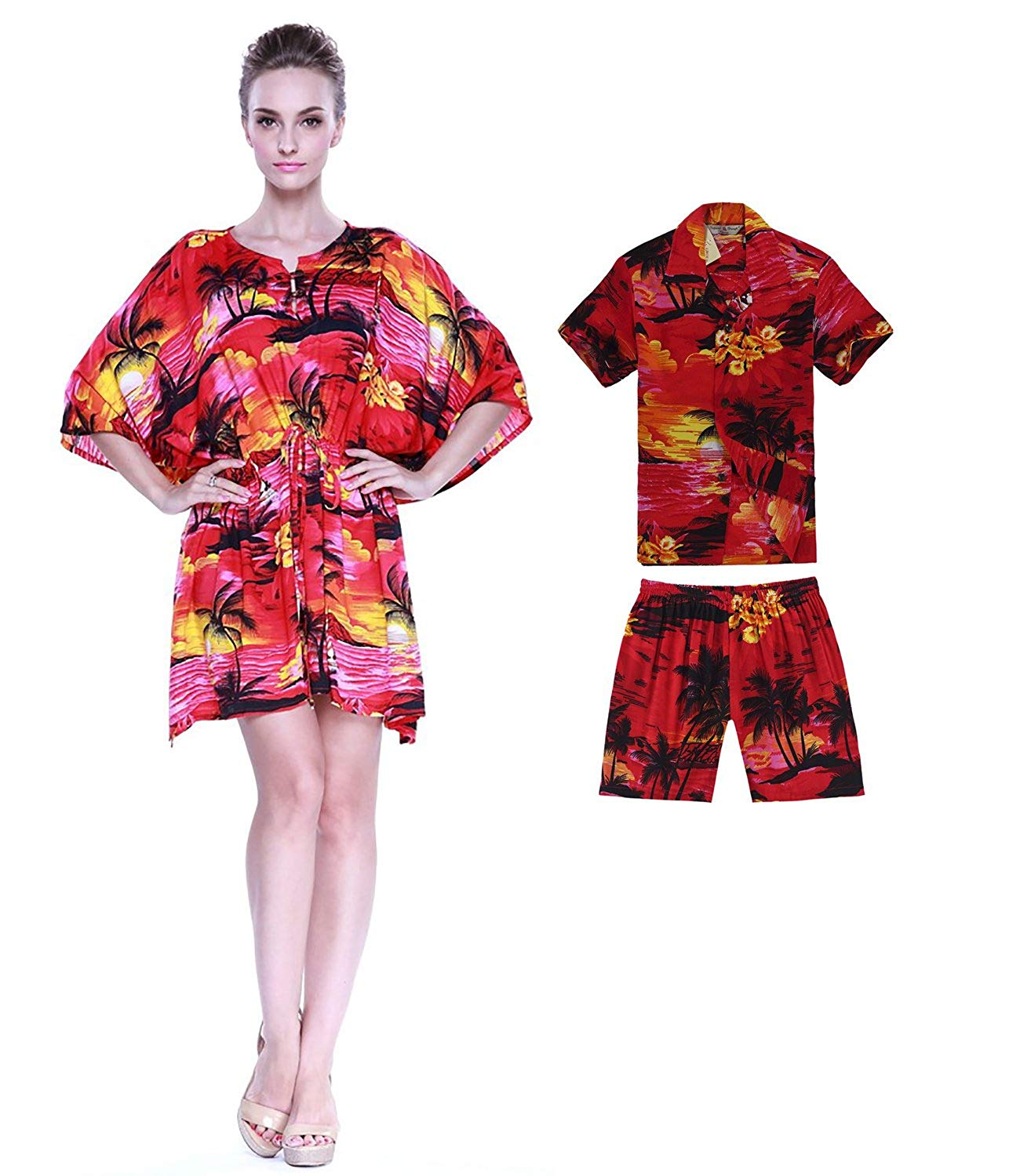 6af9fd899d25 Hawaii Hangover Matching Mother Son Hawaiian Luau Outfit Poncho Dress Shirt  In Sunset In 2 Colors