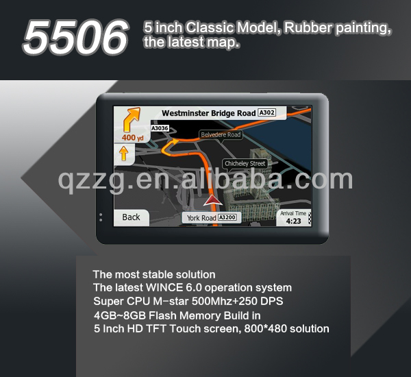 5 inch GPS navigation,world map installed,best GPS,touch screen,audio,video,games,GPS Radar Detector 5506