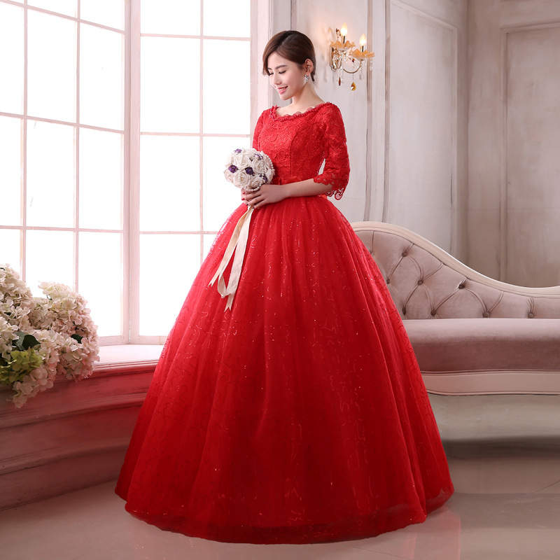 Una línea media manga actuaciones vestido de noche rojo vestido de ...